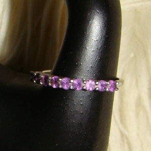Silver Amethyst Stack Band Ring Women's 8